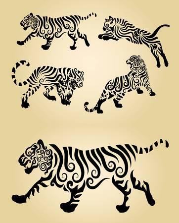 silueta tigre: Tiger Curl Decoración