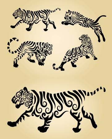 Tiger Curl Decoration Vector