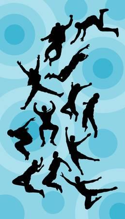 �jumping: El salto del hombre Siluetas Vector Buen uso de s�mbolo, logotipo, etiqueta, papel pintado, etc