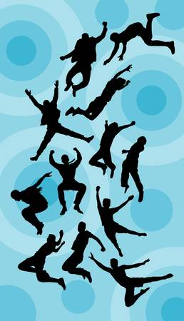 Man Jumping Silhouettes Vector  Good use for symbol, logo, sticker, wallpaper, etc  Vector