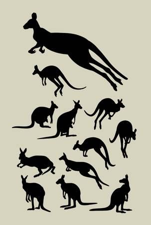 Kangaroo Silhouettes Vector Buon uso per simbolo, logo, adesivo, carta da parati, ecc