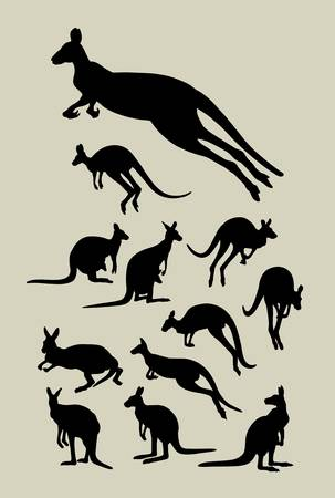 sticker vector: Kangaroo Silhouettes Vector  Good use for symbol, logo, sticker, wallpaper, etc