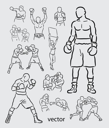 Boxing Sport Sketches Vector