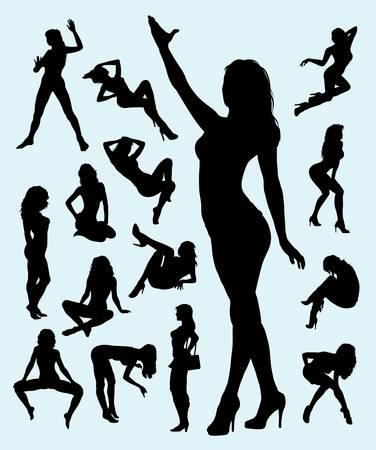 使いやすいしたい素敵なセクシーな女の子ジェスチャー シルエットと滑らかなベクトル、シンボル、ロゴ、または任意のデザインのためのよい使用