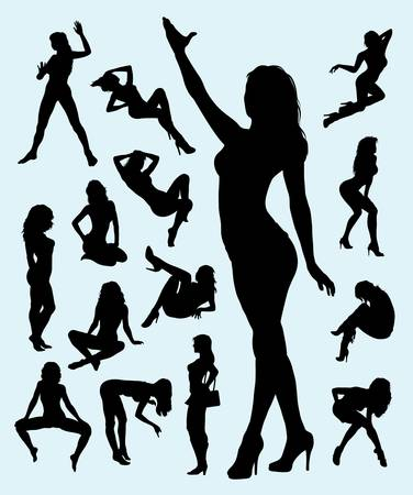 sexy girl: Sexy Girl Gesture Silhouettes  Nice and smooth vector, good use for symbol, logo, or any design you want  Easy to use