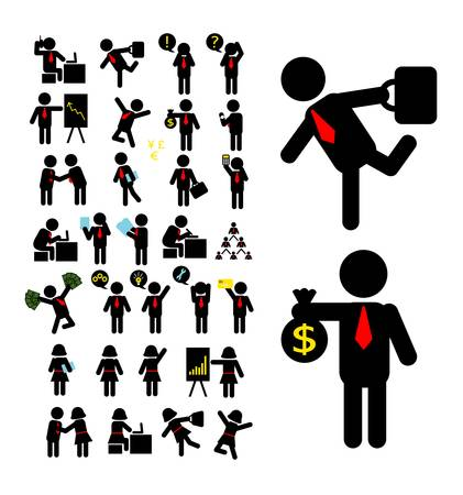 Businessman and Business Woman Pictogram Icons Vector