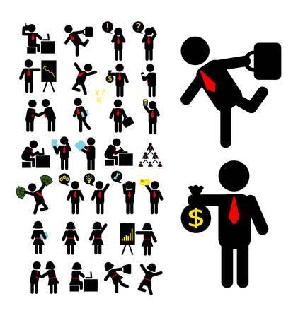 Hombre de negocios y la mujer de negocios iconos pictogramas Foto de archivo - 20901352
