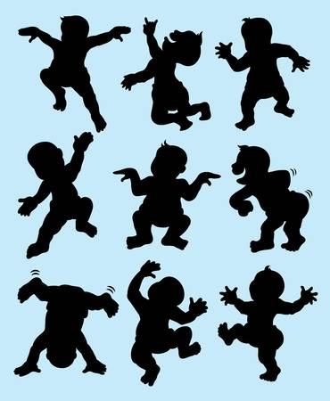 Baby Dancing Silhouettes  Easy to use or change color  Good use for symbol, logo, sticker, or any design you want