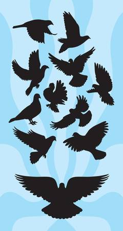 Dove or Pigeon Flying Silhouettes  Good use for symbol, logo, sticker, or any design you want  Easy to use or change color