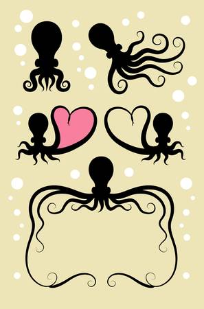 Octopus Silhouette Symbols  Use for seafood menu, sticker design, symbol, etc  Easy to edit or change color  Vector