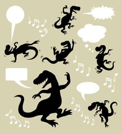 smooth shadow: Dinosaur Dancing Silhouettes  Good use for your logo, symbol, icon, social media design, etc  Easy to use