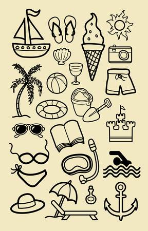 Beach Icons Hand Drawing  Good use for you symbol, icon, logo, or any design you want  Easy to edit or change color Stock Vector - 21801904