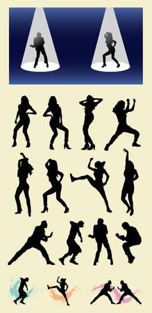 Dancer Male and Female Silhouettes  Good use for your symbol, logo, sticker design, wallpaper, or any design you want  Easy to use  Vector