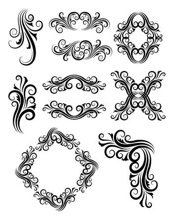 Floral element decorations  Good use for tattoo, sticker, decoration, label, frame, or any design you want  Vector