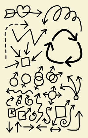 Spontaneous arrow hand drawing symbols  Good use for your symbol, web icons, wallpaper or any design you want  Vector