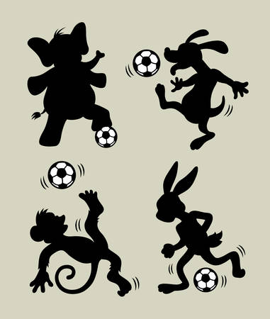 Animal Playing Soccer Silhouettes  Sport activity vector  Easy to use or edit  Vector