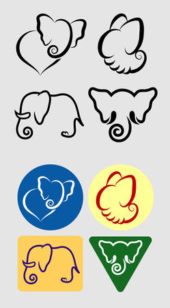 Elephant Symbols Monochrome and Color  Good use for your symbol, sticker, or any design you want  Easy to use  Vector