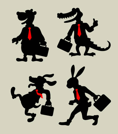 Business Animals  Cartoon character silhouettes, business activity vector, easy to use