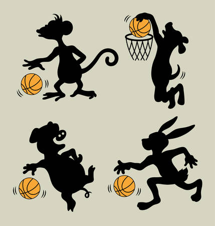 Animals Playing Basket Ball, cartoon character silhouettes Vector