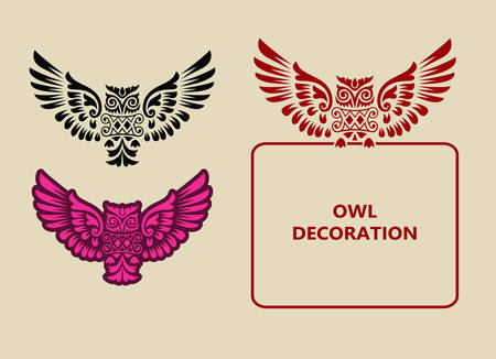 owl symbol: Owl ornament decoration  Good use for symbol, logo, label, sticker, or any design you want  Easy to use, edit or change color
