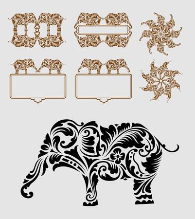 siluetas de elefantes: Elefante ornamento Buen uso de s�mbolo, icono, logotipo, elemento, etiqueta engomada, frontera, etiqueta o cualquier dise�o que desee F�cil de usar