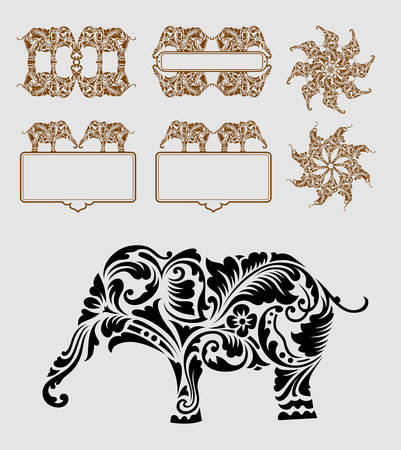 elephant icon: Elephant ornament decoration  Good use for symbol, icon, logo, element, sticker, border, label, or any design you want  Easy to use