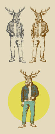 The cool deer illustration  Easy to use, edit or change color  Vector