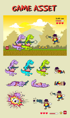 Dinosaur attack game asset Illustration