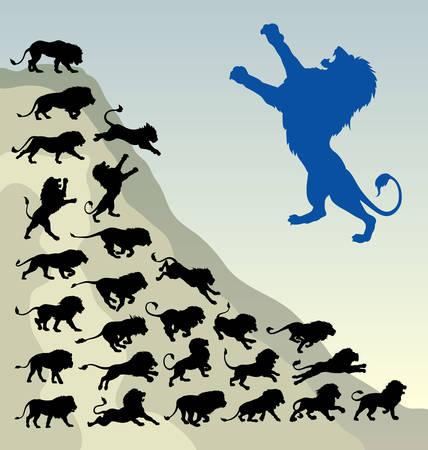 of lions: Le�n siluetas corriendo F�cil de usar, editar o cambiar de color