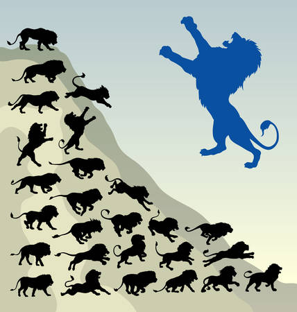 Lion running silhouettes  Easy to use, edit or change color  Illustration
