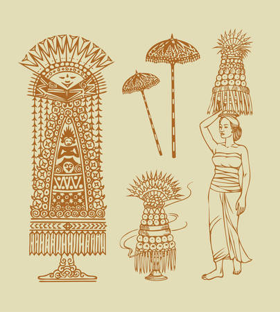 spontaneously: Balinese decorative element objects for pray  Easy to use, edit or change color