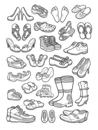 Schoenen, sandaal en voet pictogrammen schets Stock Illustratie