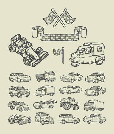 hand truck: Car icons sketch  Good use for website icons, symbol, illustration, or any design you want  Illustration
