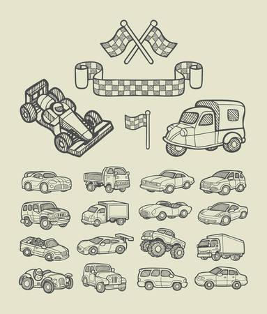 carretilla de mano: Iconos del coche dibujan Buen uso de iconos de sitios web, símbolo, ilustración, o cualquier diseño que desee