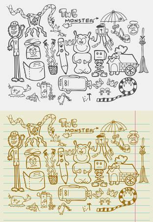 naif: Naif doodle monsters fantasy sketches  Drawing and vintage style