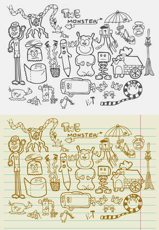 Naif doodle monsters fantasy sketches  Drawing and vintage style