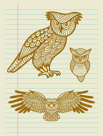 Owl with geometric decoration ornament sketches Vector