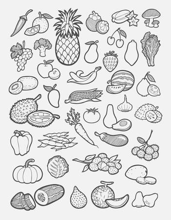 grapes and mushrooms: Set of fruit and vegetable icons sketch  Easy to use