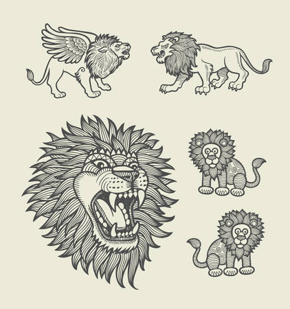 spontaneous: Lion with geometric ornament decoration sketches