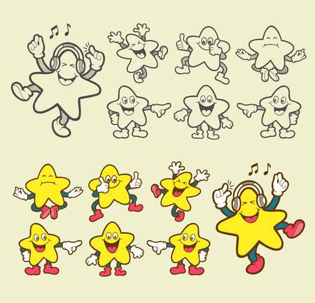 estrella caricatura: Smiley personaje de dibujos animados iconos de estrellas Fácil de usar, editar o cambiar de color