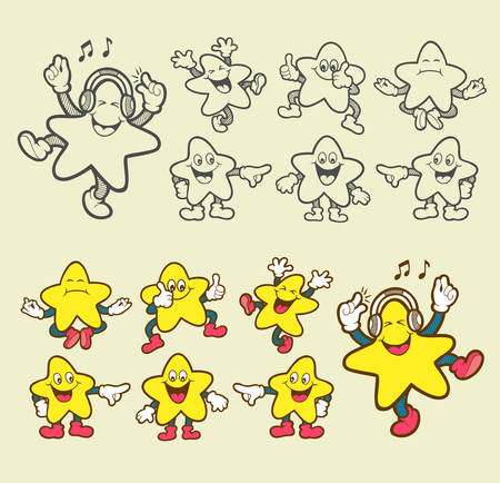 star cartoon: Smiley star icons cartoon character  Easy to use, edit or change color