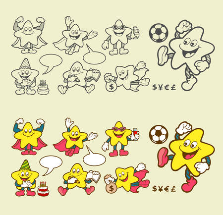 Super star cartoon character icons with his expression. Easy to use. Vector