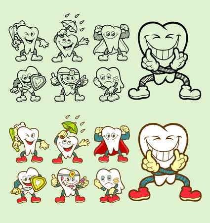 cartoon sick: Set of tooth cartoon character icons with his expression. Easy to use.