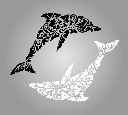dolphin silhouette: Dolphin floral pattern ornament decoration. Easy to use or edit.