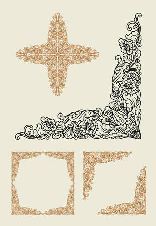 batik motif: Balinese corner floral pattern ornament decoration. Easy to use.