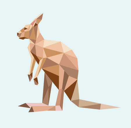 Kangaroo animal triangle low polygon style. Good use for any design you want.