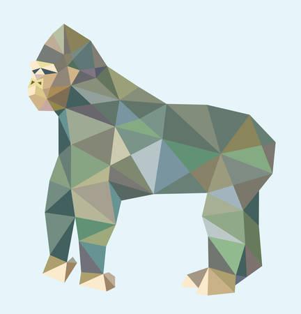 gorila: Gorila tri�ngulo animales estilo bajo pol�gono. Buen uso de cualquier dise�o que desee. Vectores