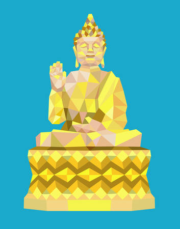 buddha image: Buddha meditation triangle low polygon style. Easy to use.