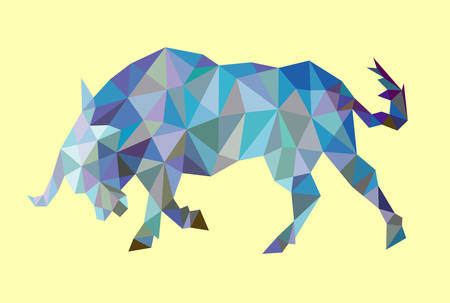 Angry bull animal triangle low polygon style. Easy to use.