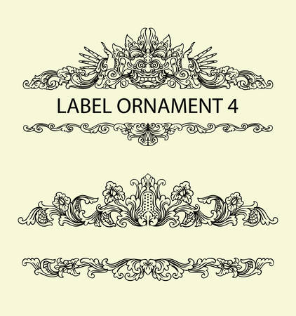 re: Label ornament 4. Black floral ornament with blank space. Easy to use, edit, or change color.
